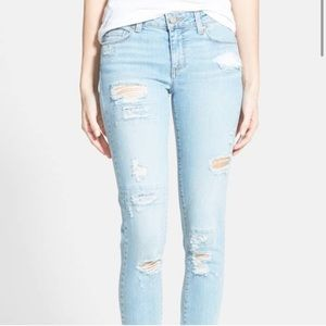 PAIGE Distressed Skinny Ankle Jeans Light Wash